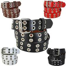Kids Double Grommet Holes Leather Belt 2-Row Studded Snap-On Solid Plain Unisex