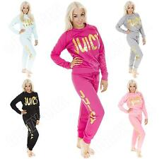 New Womens Quilted Fleece Juicy Print Jogger & Sweatshirt Tracksuit Size 8 10 12