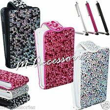 Diamond Diamante Flip Bling Pu Leather Case Cover Pouch For Major Mobile Phones