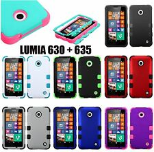 For Nokia Lumia 630 635 - Hard & Soft Rubber Hybrid Armor High Impact Case Skin