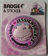 Female Dinosaur Name Badges A-L, Personalised, by Paper Island, Pink