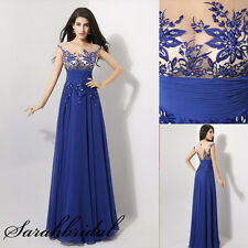 Sexy Sheer Royal Blue Long Evening/Formal/Party/Prom Dresses Gown 2 4 6 8 10 12