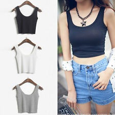 WOMEN'S Ladies SCOOP NECK CROPPED BELLY TOP SLEEVELESS FITTED TEE STRETCHY 2014