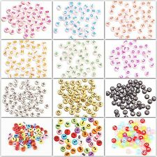 Fashion 50pcs Acrylic Mixed Alphabet Letter Coin Round Flat Spacer Beads For DIY