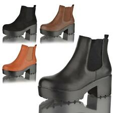WOMENS LADIES CHUNKY CLEATED PLATFORM MID BLOCK HEEL CHELSEA ANKLE BOOTS SHOES