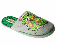 MENS OFFICIAL TEENAGE MUTANT NINJA TURTLES NOVELTY MULE SLIP ON SLIPPERS UK 7-12