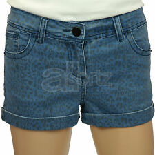 New Girls Childrens ex Internacionale Stretch Cotton Animal Print Denim Shorts