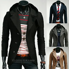 Charm Fashion Trench Jackets Men's Slim Fit Single Breasted Hooded Casual Coat