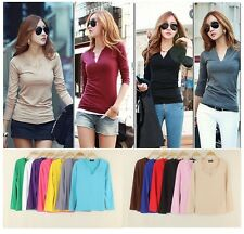 Fashion Candy Colors Women V Neck Long Sleeve New Casual T-shirt Tops Hot CC2240