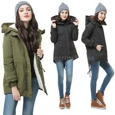 LADIES HOODED PARKA FLEECE TOP SIZE 8-16 WINTER WARM WOMEN'S LONG JACKET COATS