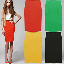 Vintage Women Fitted Business Knee Long Slimming High Waist Office Pencil Skirt