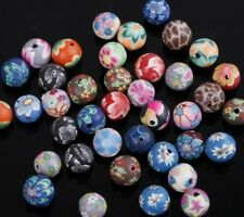 40 PCS Mixed Polymer Clay Fimo Flower Round Loose Spacer Beads 8mm,By Randomly