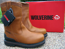 NEW Mens Wolverine Triad Wellington Tan Leather Steel Toe Waterproof Work Boots