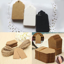 100x Kraft Paper Wedding Party Favour Gift Card Scallop Label Blank Luggage Tags