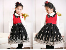 Winter autumn girl Embroidery Dress princess collar bowknot belt lace floral