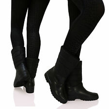 D9Y New Womens Ladies Waterproof Winter Snow Flat Ankle Boots Womens Shoes Size
