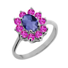 1.15 Ct Oval Checkerboard Blue Iolite Pink Sapphire 14K White Gold Ring