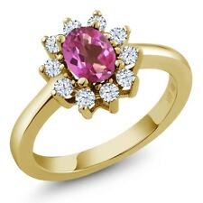 1.35 Ct Oval Pink Mystic Topaz White Topaz 18K Yellow Gold Ring