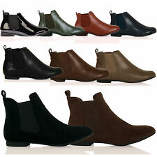 D3Z New Womens Pull on Flat Chelsea Ankle Boots Fashion Smart Ladies Pixie Shoes