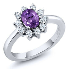 1.05 Ct Oval Purple Amethyst 925 Sterling Silver Ring