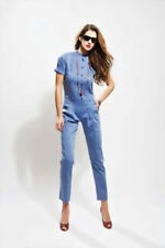 Women's Overalls Jumpsuit Jeans Denim 3/4 Sleeves Chino Trousers Onesie Suit