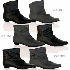 D6X New Womens Flat Ankle Boots Casual Smart Fashion Low Heel Ladies Shoes Size