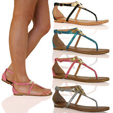 D12 Womens Strappy Toe Post Summer Sandals Gold Plate Holiday Ladies Shoes Size
