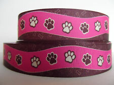 Grosgrain Ribbon, Doggie Paw Prints on Pink Ribbon with Brown Background, 1""