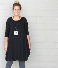 CHALET USA  Bamboo Jersey  KRISTA BALLOON TUNIC  Long Top  1X  2X  3X  BLACK