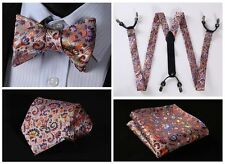 6F07N Orange Blue Floral Silk Tie Handkerchief Suspenders Self Bow Tie Set