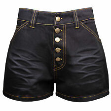 New women high waist black sexy denim jean shorts hotpants plus size 10-20 M0108