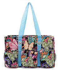 Butterfly Flower Print Lightweight Canvas Utility Multi Purpose Tote Bag
