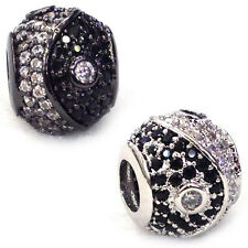 AAA crystal rhinestone cz rondelle Tai Chi spacer bead charm big hole fit Euro