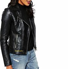 New Fashion Collection Quilted Lambskin Leather Biker Jacket For Women W- 58