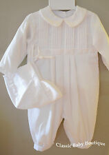 NWT Petit Ami White Romper Longall 12 18 24 Months Baby Boys Christening Baptism