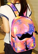 Galaxy Pattern Canvas Moustache Casual Travel School Bags Backpack For Women Men