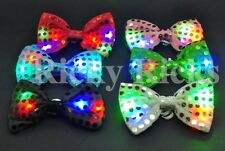 Light Up Bow Ties LED Flashing Blinking Sequin Hair Bows Halloween Party EDC