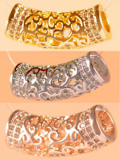 AAA crystal rhinestone cz pave tube bar charm carving hollow curved ft euro bead