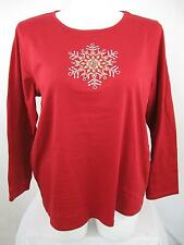 Laura Scott Plus Size Cotton/Poly LS Holiday Top Red with Star Design