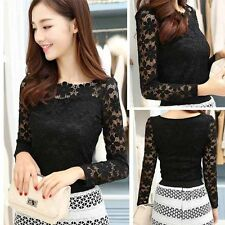 Women's Sexy Casual Long Sleeve Lace Floral Tops Shirt Blouse Size 8 10 12 14 16