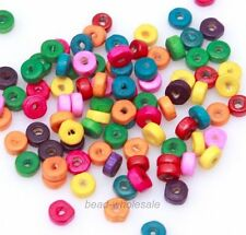 400/1000pcs Rondelle Wood Spacer Beads Jewelry Finding Loose Wood Beads 6mm NEW