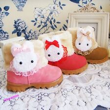 New Fashion Baby Girls Toddler infant  Winter Fur warm Shoes rabbit Snow Boots