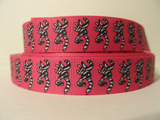 "Grosgrain Ribbon, Zebra Bucks on Hot Pink, 7/8"" Wide"