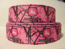 "Grosgrain Ribbon, White Jumping Buck on Pink Camo, 7/8"" Wide"