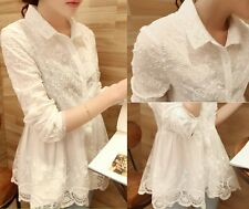 Fashion Ladies Women's Lace Embroidery Tops Long Sleeve Shirt Casual Blouse