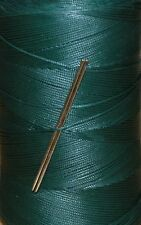 STRONG RITZA WAXED HAND SEWING THREAD FOR LEATHER/CANVAS & 2 NEEDLES - DK GREEN