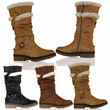 D8Y Womens Fur Lined Warm Mid Calf Biker Boots Winter Under Knee Ladies Shoes