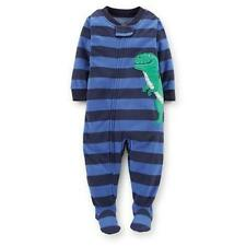 Carters Toddler Fleece Blue Stripe Dinosaur Fotted Pajama Blanket Sleeper NWT