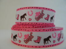 Grosgrain Ribbon, Cowgirl Pink Cowgirl Boots Horses Horse Shoes Pink Hat, 7/8""