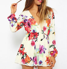 New Women Sexy Floral V Neck Long Sleeve Bodycon Jumpsuit Romper Clubwear Shorts